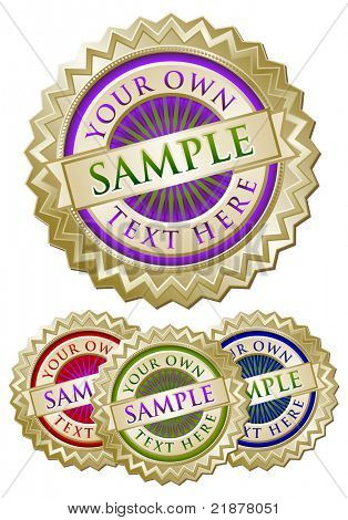 Set of Four Colorful Emblem Seals Ready for Your Own Text.