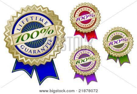 Set of Four Colorful 100% Lifetime Guarantee Emblem Seals With Ribbons.