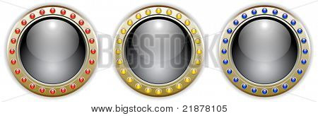 Ornate Black Vector Glossy Button Set with 3 Color Combinations of the Outer Ring Elements. See my color and design variations on this theme.