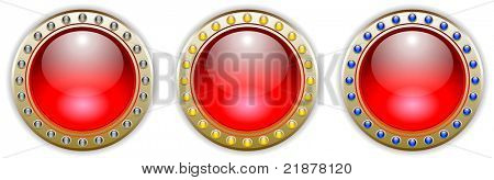 Ornate Red Vector Glossy Button Set with 3 Color Combinations of the Outer Ring Elements. See my color and design variations on this theme.
