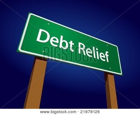 Debt Relief Green Road Sign Vector Illustration on a Radiant Blue Background.