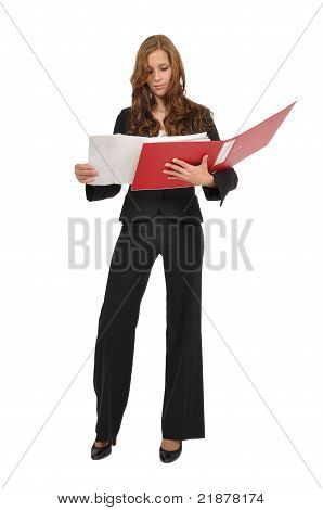 Woman In A Suit Regarded Architectural Drawing In Red Folder