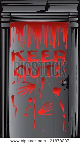 sinister door with bloody hand prints and warning vector
