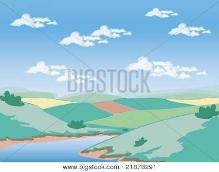 vector landscape with farmers fields and water-jpeg also available