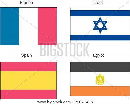 Flags France, Spain, Israel, Egypt