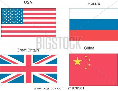 USA, Great Britain, Russia, China vector flags