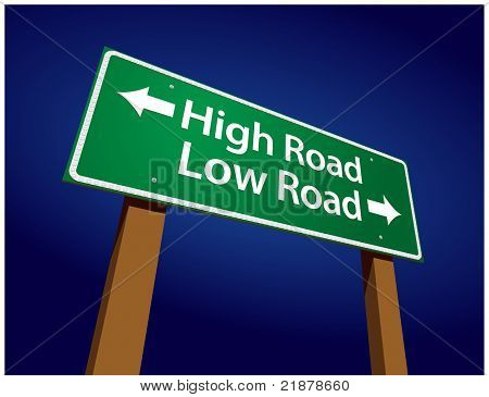High Road, Low Road Green Road Sign Illustration on a Radiant Blue Background.