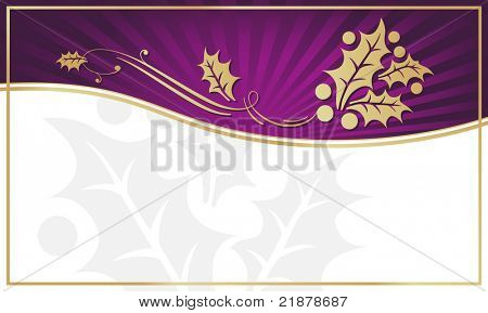 Exotic Purple Holly Adorned Gift Tag with Room for your own text. You may also like my color variations on this design.