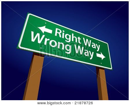 Right Way, Wrong Way Green Road Sign Illustration on a Radiant Blue Background.