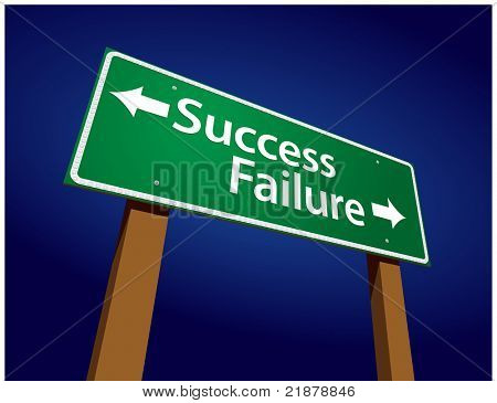Success, Failure Green Road Sign Illustration on a Radiant Blue Background.