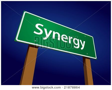 Synergy Green Road Sign Illustration on a Radiant Blue Background.