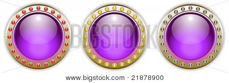 Ornate Purple Vector Glossy Button Set with 3 Color Combinations of the Outer Ring Elements. See my color and design variations on this theme.