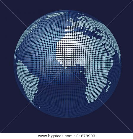 stylized 3D vector globe map