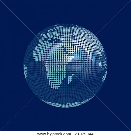 stylized 3D vector globe, europe, africa