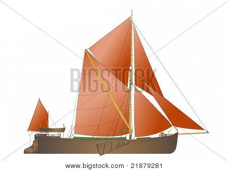 a traditional Thames sailing Barge from the 1890s