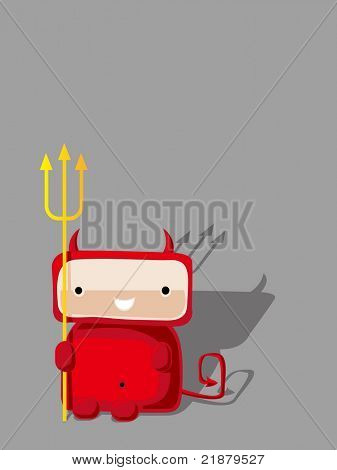 vector red devil from hell on gray background