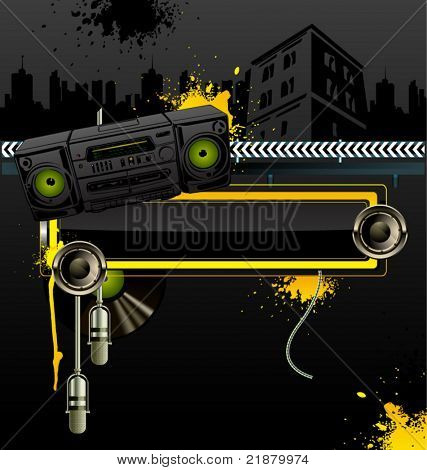 Urban vector background with tape recorder, microphone and loudspeaker