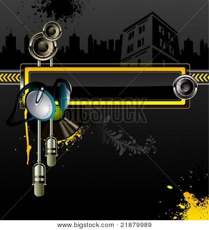 Urban vector background with headphones, microphone and loudspeaker
