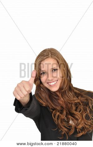 Businesswoman In A Suit With Thumbs Up