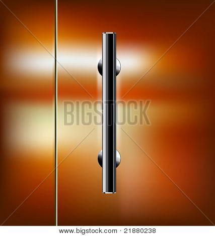 Puerta de cristal transparente de vector con la manija