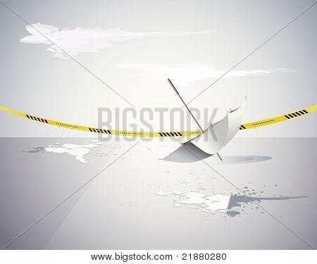 guarda-chuva e a fita amarela de cena de crime com água
