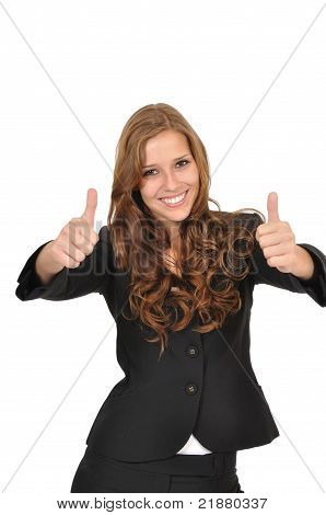 Businesswoman In A Suit With Two Thumbs Up