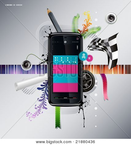 illustration of a cellular phone with patterns on the background