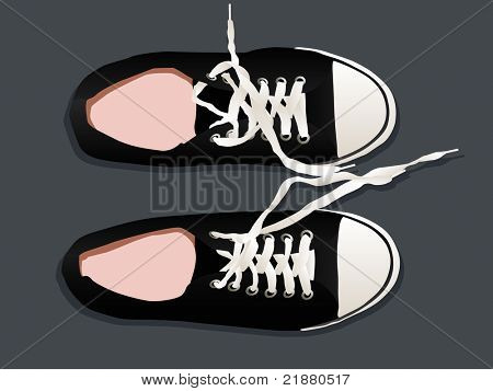 athletic shoes sneakers vector on a gray background