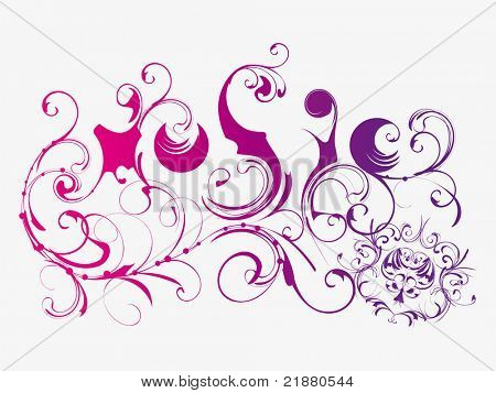 vector text music with floral pattern on white background