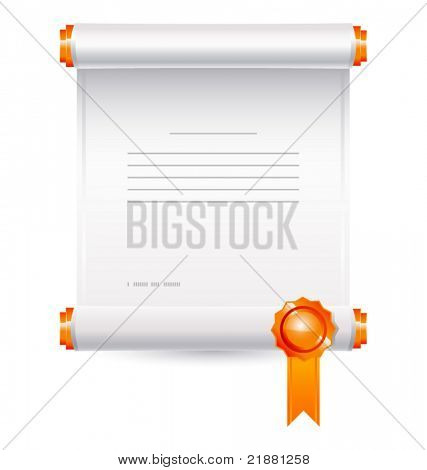 vector icon roll of paper with a stamp
