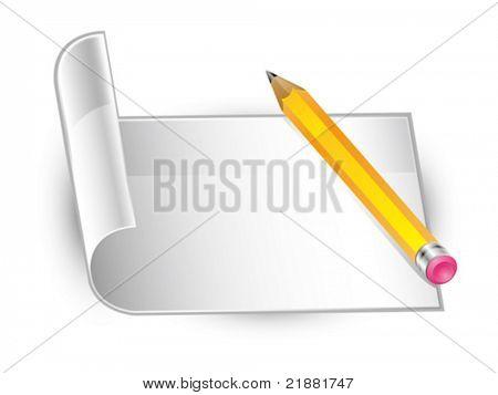 icono vector amarillo lápiz y blanqueo de papel