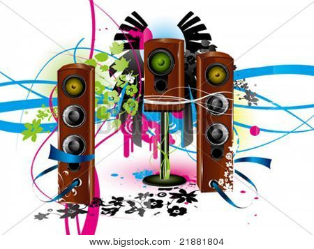 vector colour background with loudspeaker, acoustic system
