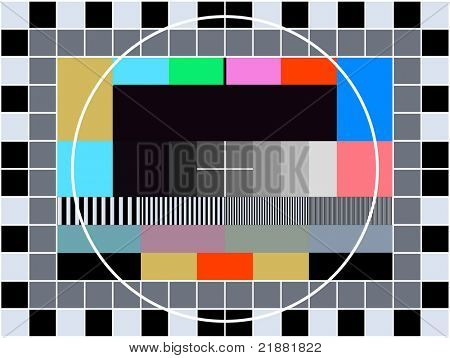 TV transmission test card for adjusting and tuning a television