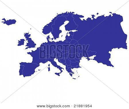 Map of Europe with countries outlined