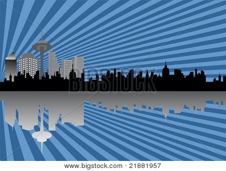 Cityscape with silhouette skyline
