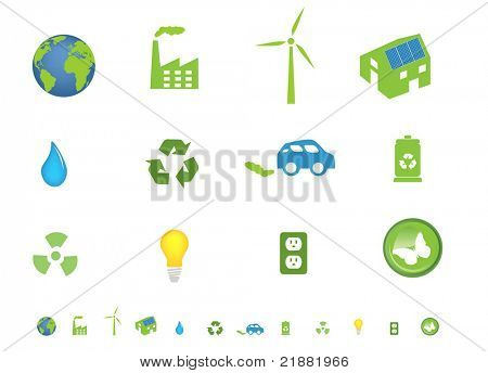 Environment friendly ecological icon set