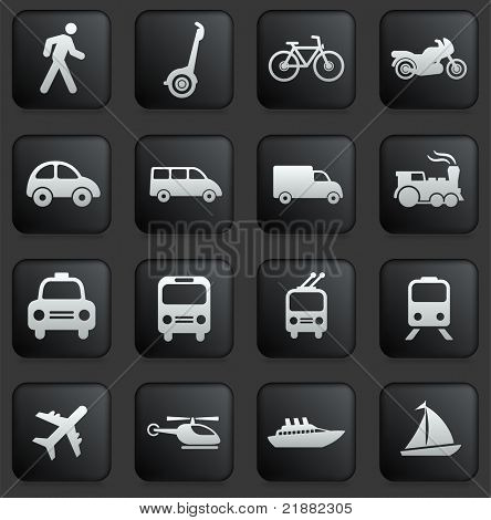 Transportation Icon on Square Black and White Button Collection Original Illustration