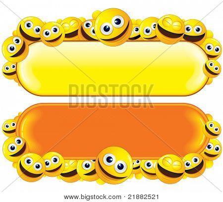 Funny Vector Banners with lot of smileys for your text