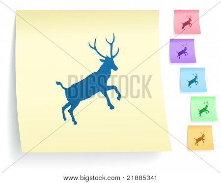 Hirsch-Symbol auf post-it Note papier Auflistung-Original illustration