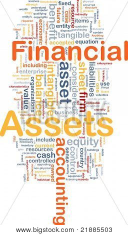 Background concept wordcloud illustration of financial assets