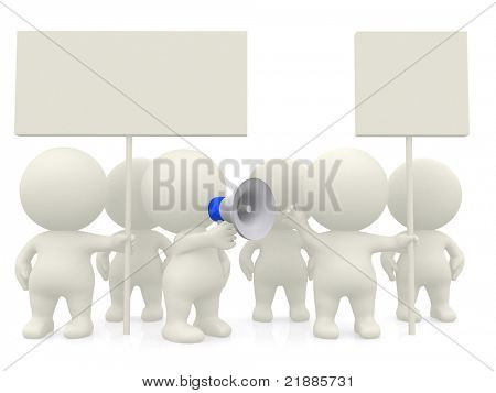 3D people protesting - isolated over a white background