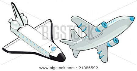 Airplane and shuttle. Vector isolated object.