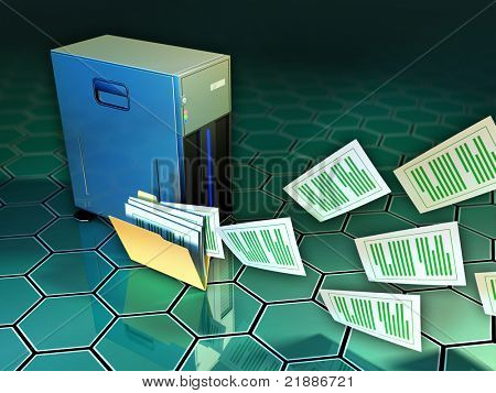 Some documents flying out of a file folder, next to a tower server. Digital illustration.