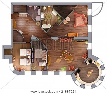 the home interior  project plan (3D rendering)