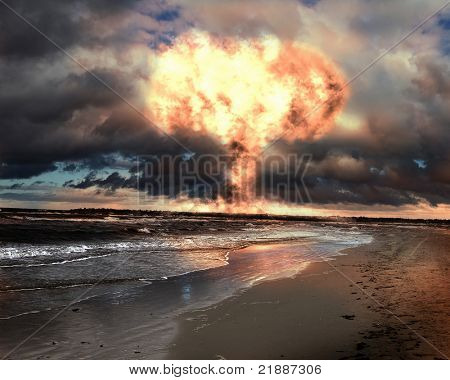Nuclear explosion in an outdoor setting. Symbol of environmental protection and the dangers of nuclear energy.