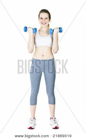 Happy Active Girl Holding Weights
