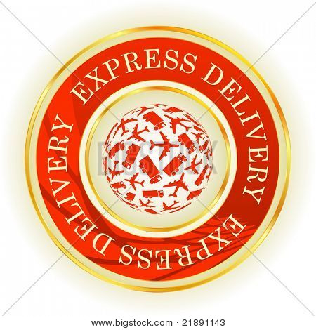 Free delivery. Vector label for sale.