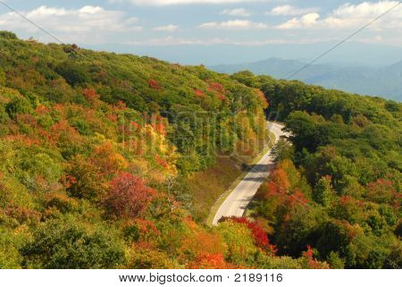 Winding Mountain Road In Tennessee During The Autumn