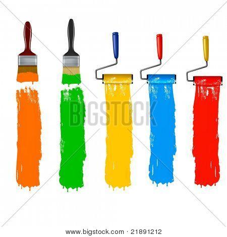 Malen Sie Pinsel und malen Sie Roller und malen Banner zu. Vektor-Illustration.