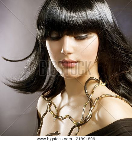 Beautiful Brunette.Hairstyle.Egyptian Style